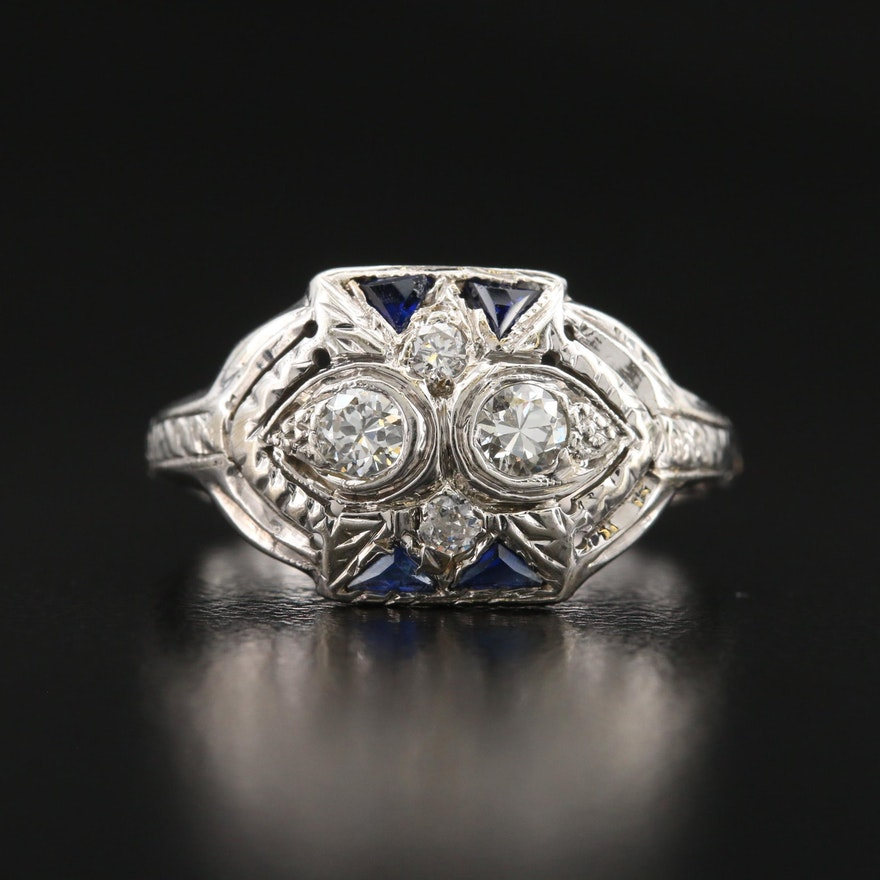 Art Deco 14K Diamond and Sapphire Ring