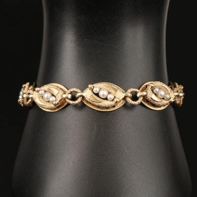 Vintage 14K Pearl Textured Link Bracelet