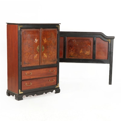 Chinese Style Clothes Press and Queen Size Headboard, Late 20th Century