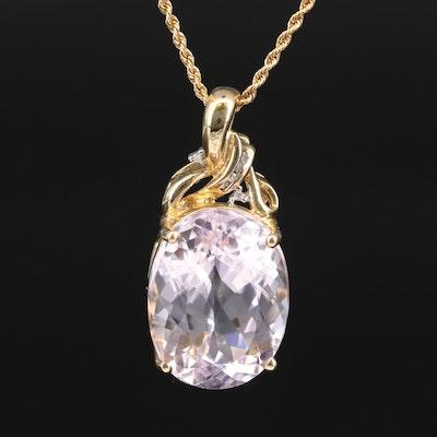 14K 21.60 CT Kunzite and Diamond Pendant Necklace