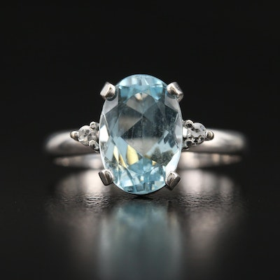 18K 2.18 CT Aquamarine and Diamond Ring