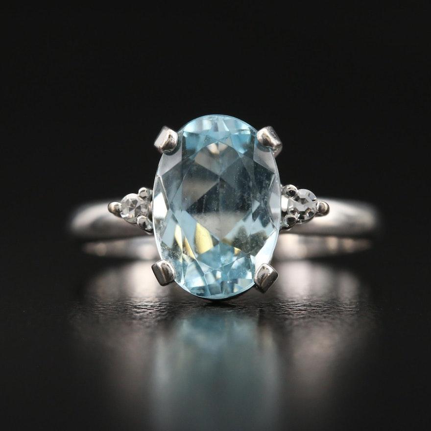 18K 2.18 CT Aquamarine and Diamond Ring