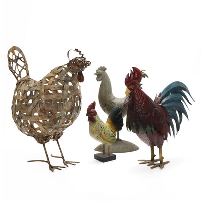 Primitive Style Chicken Sculptures, Contemporary