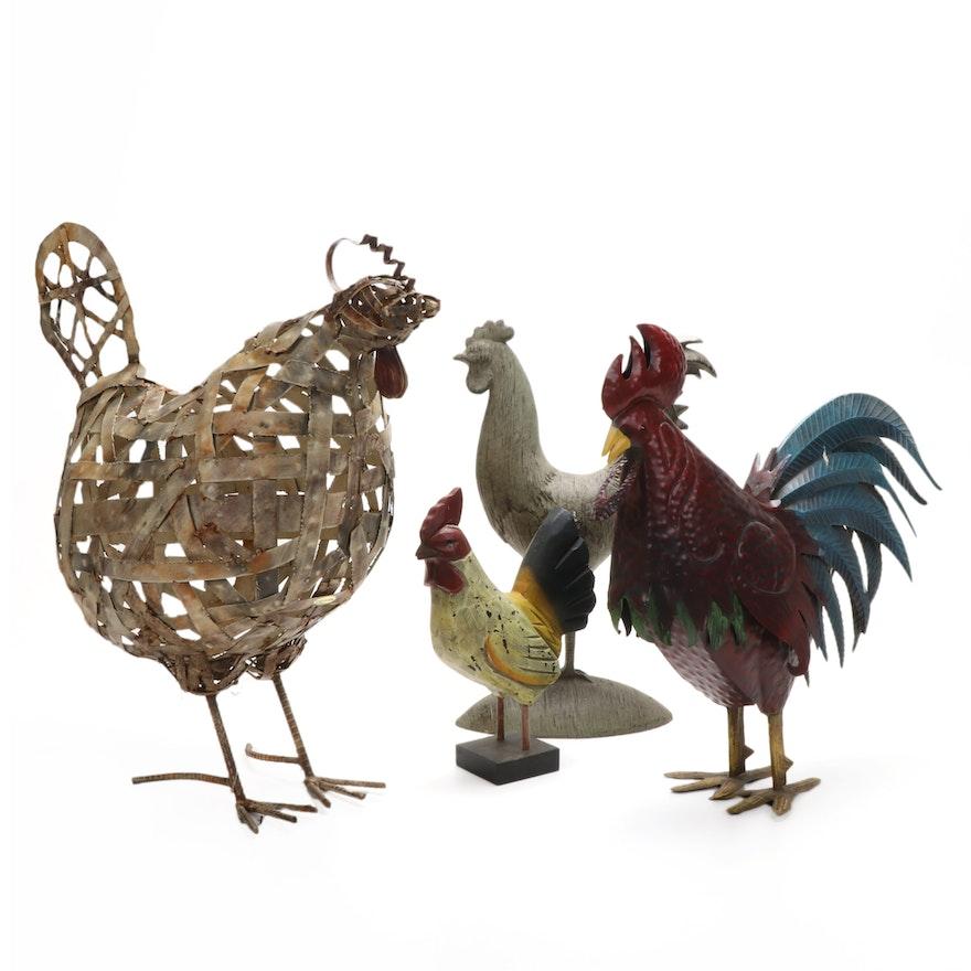 Primitive Style Chicken Sculptures, Contemporary