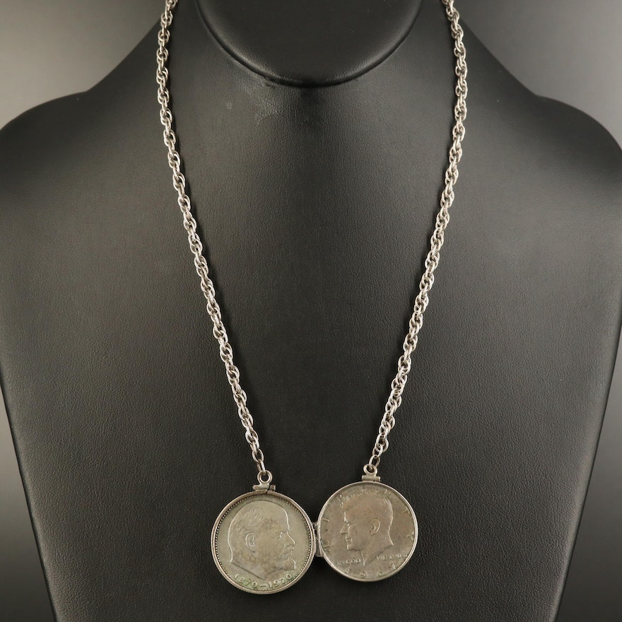 1970 Commemorative USSR Ruble and 1967 Kennedy Half Dollar Necklace