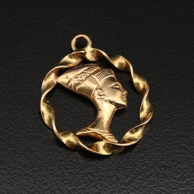 18K Egyptian Queen Nefertiti Pendant