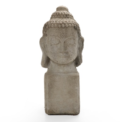 Cast Concrete Buddha's Head Garden Ornament