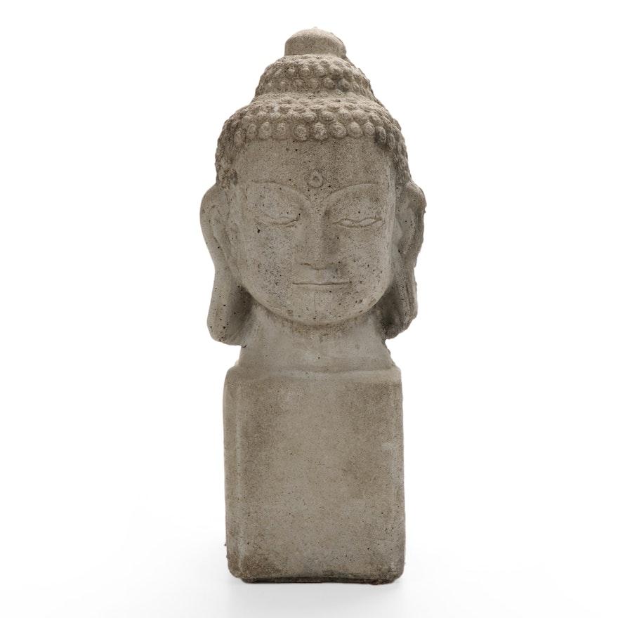Cast Concrete Buddha's Head Garden Ornament