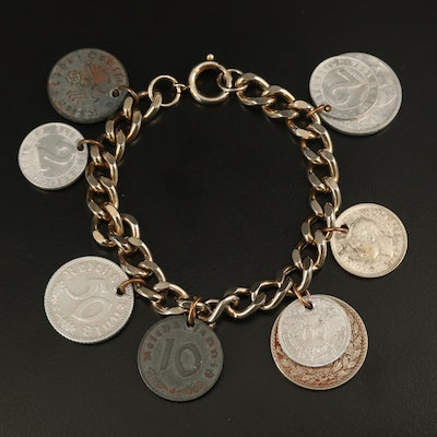 Coin Charm Bracelet with French, German, British and Austrian Coinage