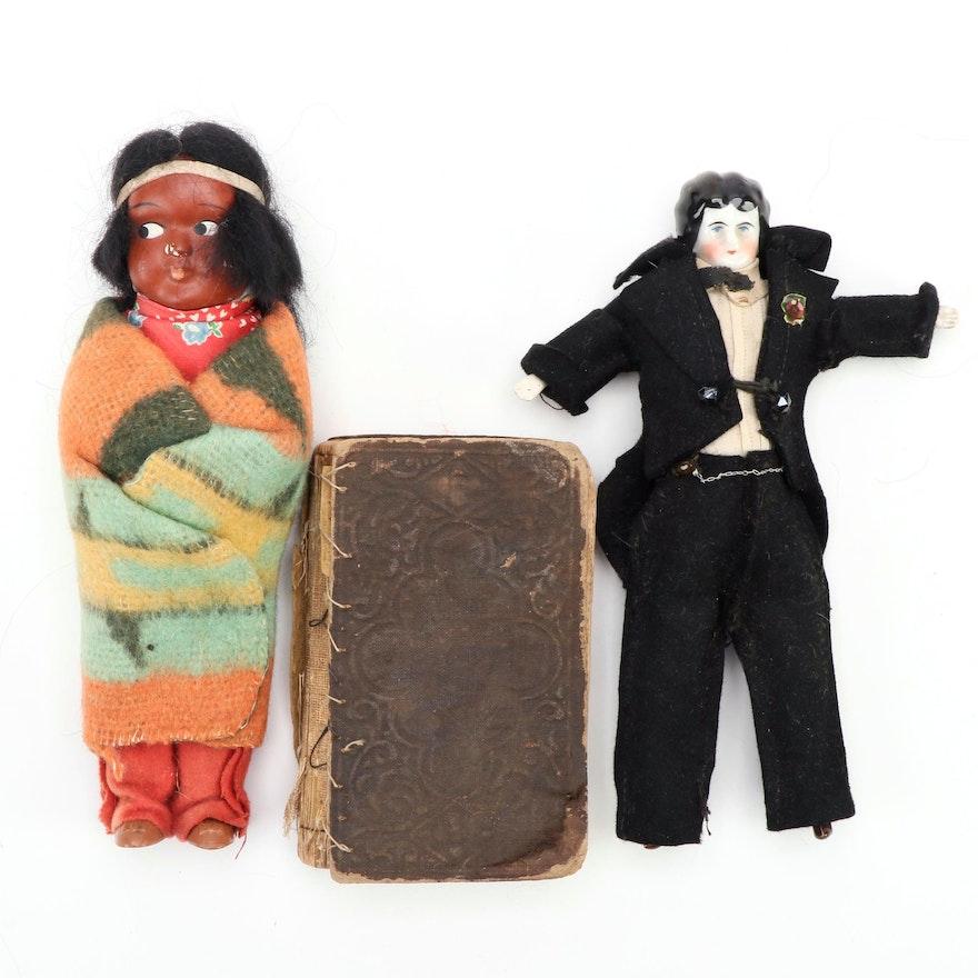 Civil War Era The New Testament with Native American Skookum and Porcelain Dolls