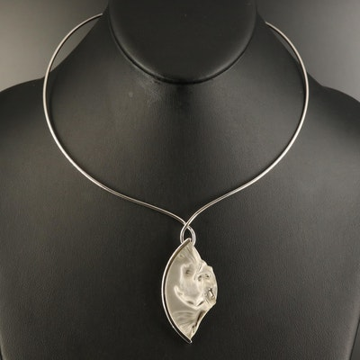 Lalique Sterling Crystal Pendant Necklace