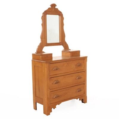 Victorian Oak Three-Drawer Dresser with Tilt Mirror, 19th Century