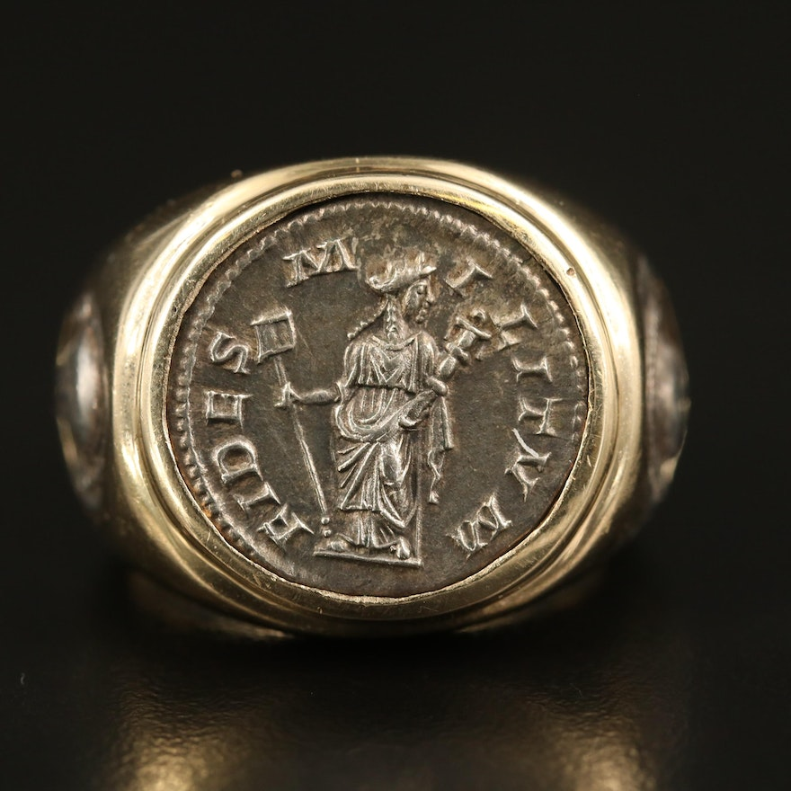 14K Ring with Reproduction Ancient Roman Denarius and Greek Coin