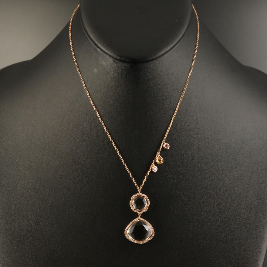 18K Sapphire and Diamond Drop Pendant Necklace