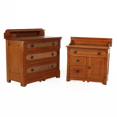 Victorian Oak Chest of Drawers and Nightstand, Late 19th Century