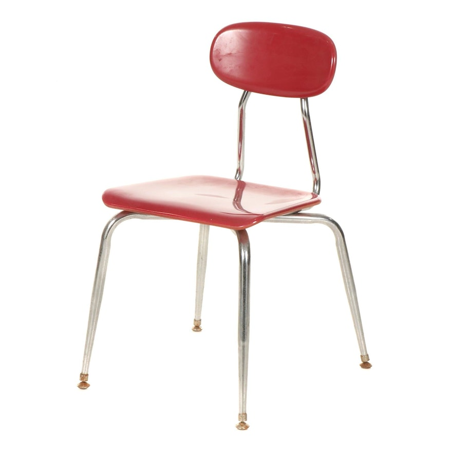 Melsur Red Plastic School Chair with Chrome Frame, 1996