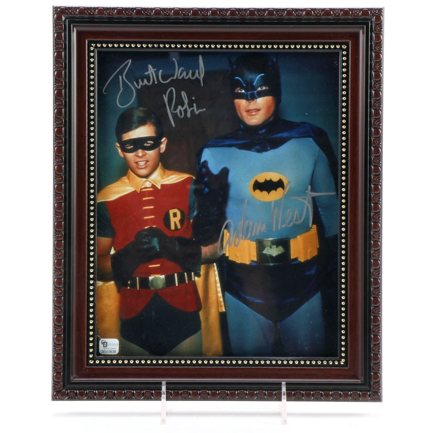 "Adam West and Burt Ward Signed ""Batman and Robin"" Framed Photo Print, COA"