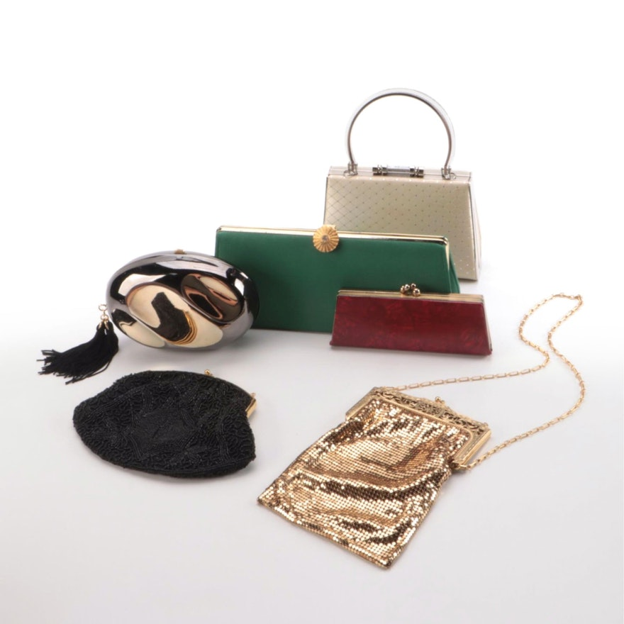 Whiting & Davis Gold Tone Mesh Bag with Other Evening Bags and Clutches