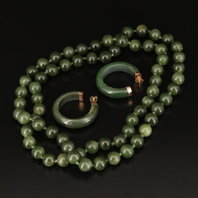 14K Carved Nephrite Hoop Earrings and Endless Beaded Necklace