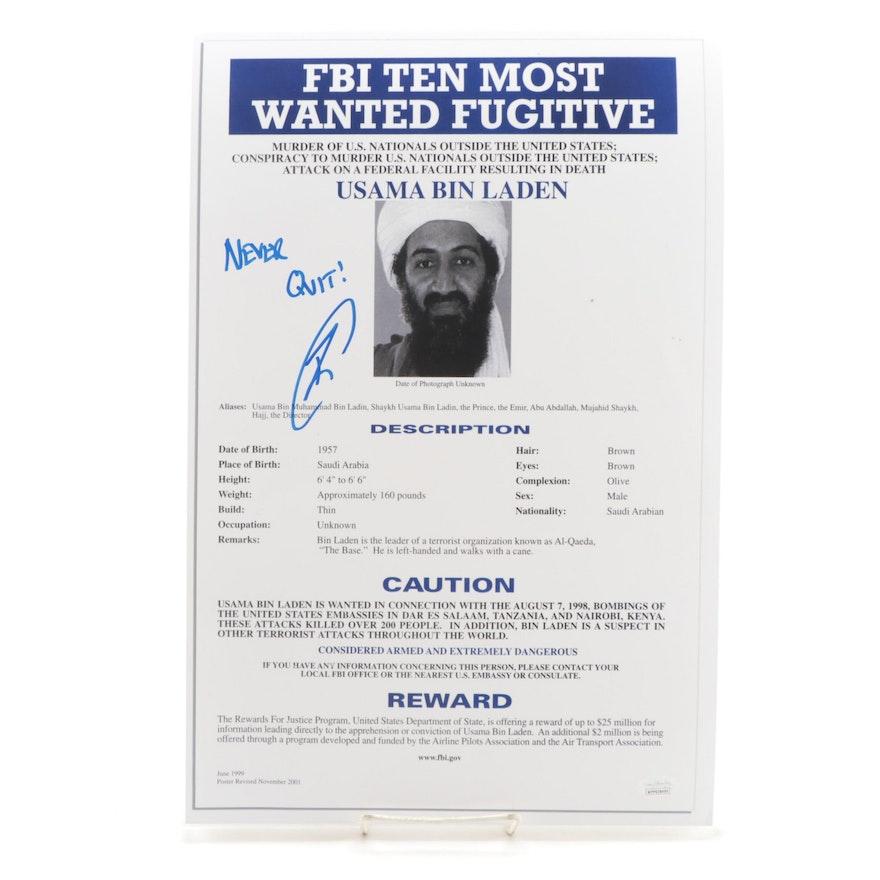 Robert O'Neill Signed Usama Bin Laden FBI Wanted Poster Print with JSA COA