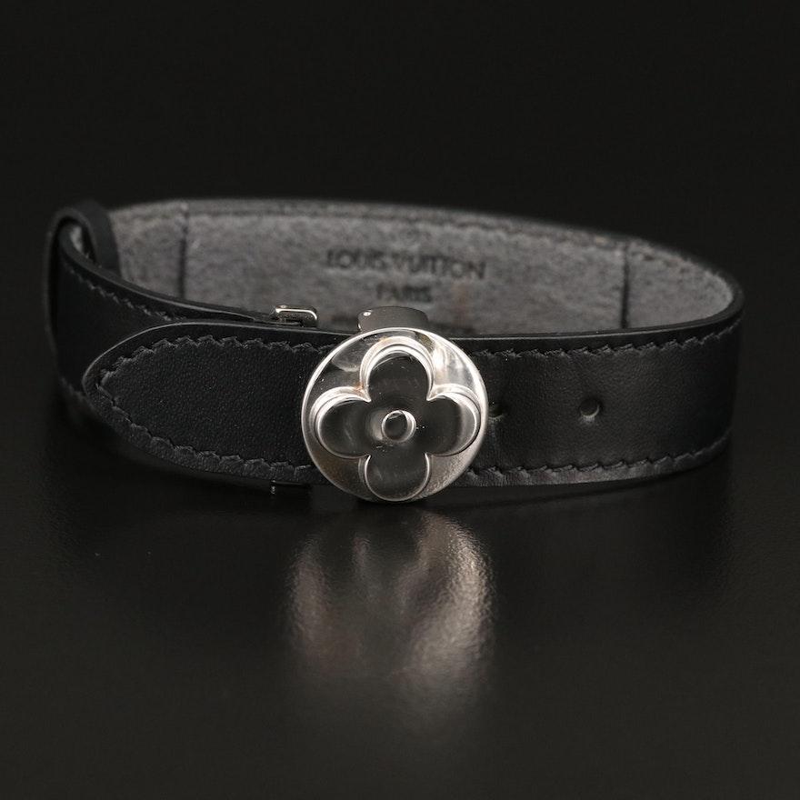 """Louis Vuitton """"Monogram Millennium Wish"""" Black Leather Bracelet"""
