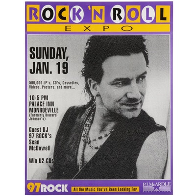 Bono Themed Commemorative Pittsburgh Rock 'N Roll Expo Poster