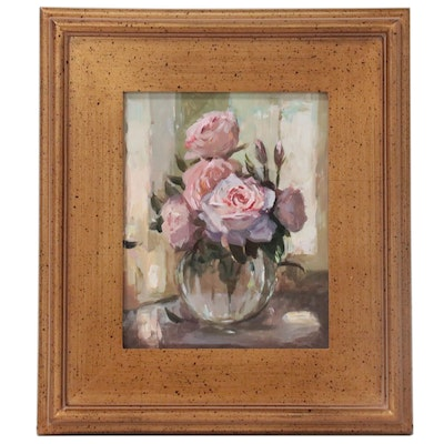 "Adam Deda Oil Painting ""Still Life: Vase with Pink Roses,"" 2021"