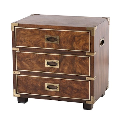 "Knob Creek George III Style Brass-Mounted Oak and Elm Bedside ""Campaign"" Chest"