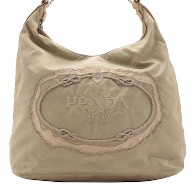 Prada Embroidered Logo Bag in Cammello Tessuto Nylon