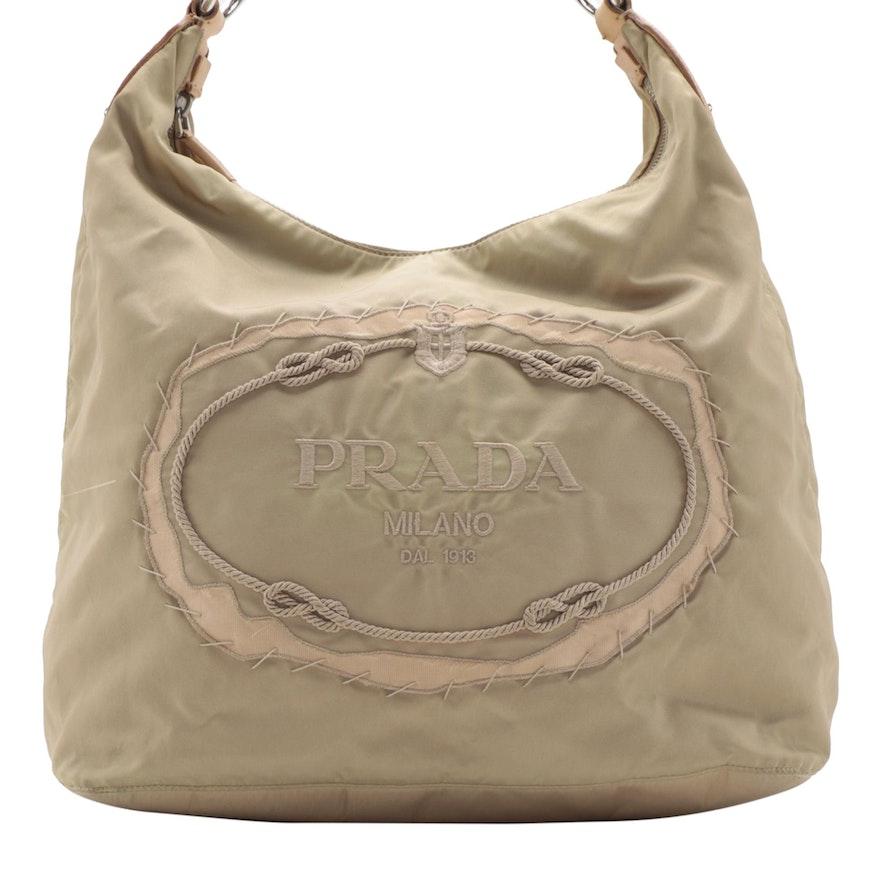 Prada Embroidered Logo Bag in Cammello Tessuto Nylon
