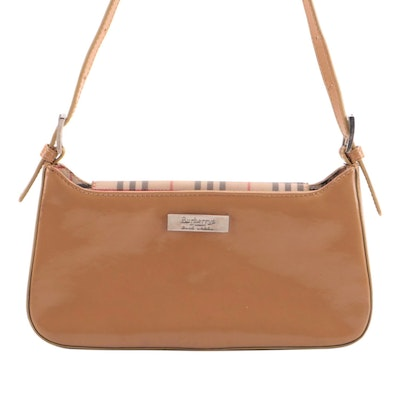 Burberrys of London Blue Label Shoulder Bag in Tan Patent Leather