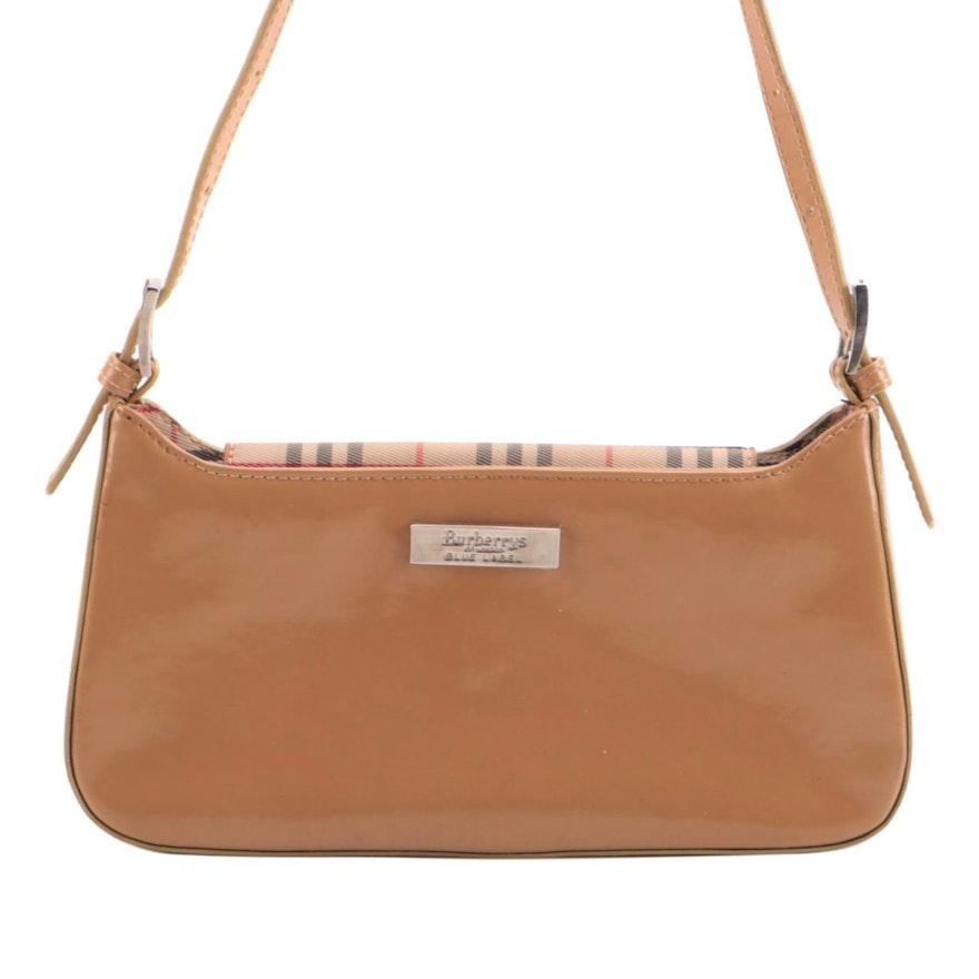 Burberrys of London Blue Label Shoulder Bag in Tan Patent Leather