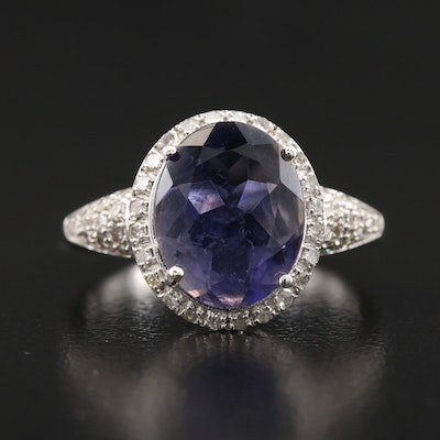 14K Iolite and Diamond Ring
