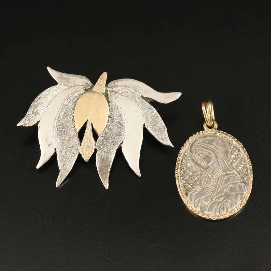 800 Silver Blossom Brooch and Sterling Virgin Mary Pendant with 18K Accents