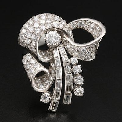 Retro Platinum 5.71 CTW Diamond Double Clip Brooch