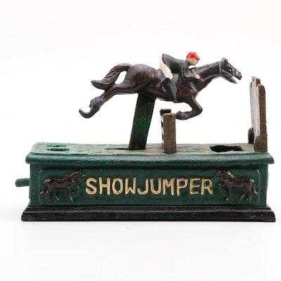 "Reproduction ""Show Jumper"" Cast Iron Coin Bank"