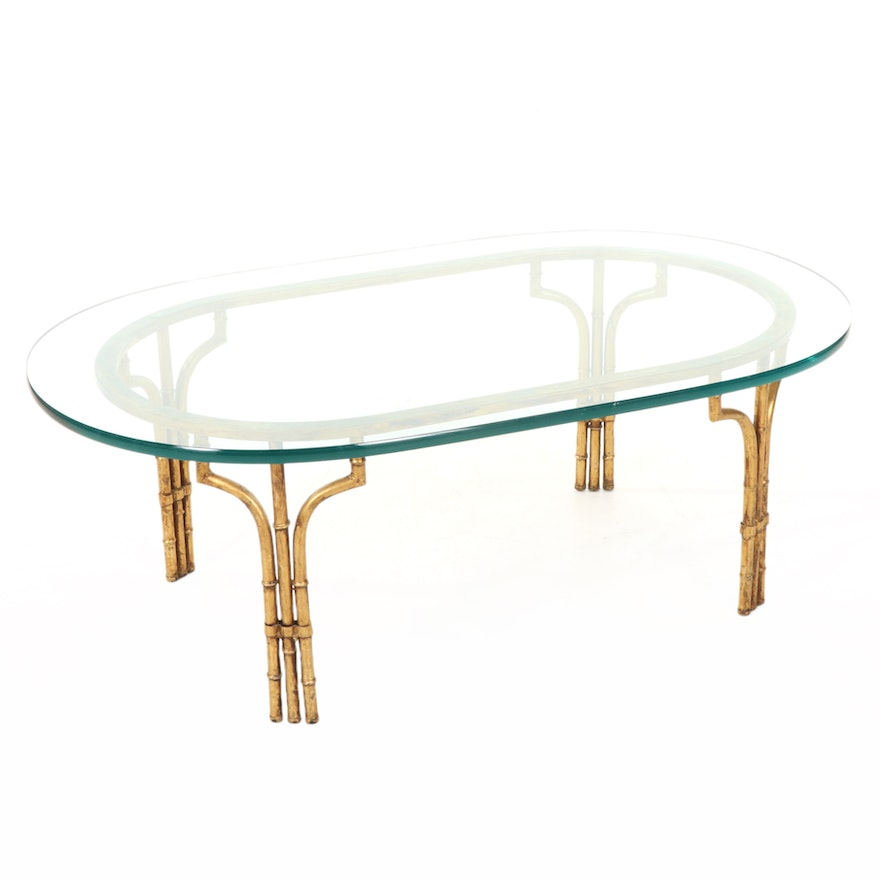 Faux Bamboo Gilt-Metal and Glass Top Oval Coffee Table, Mid-20th Century