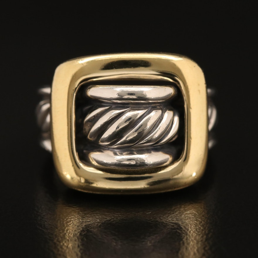 David Yurman Sterling and 18K Buckle Cable Ring