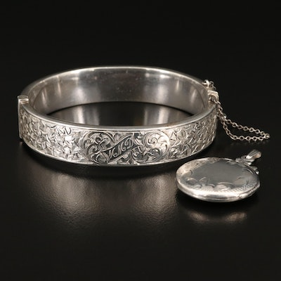 Vintage Birks Sterling Foliate Bangle with Sterling Locket