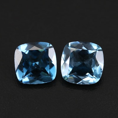 Loose 9.43 CTW Square Cushion Faceted London Blue Topaz