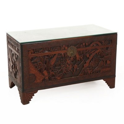 Asian Carved Rosewood Chest, Mid 20th Century
