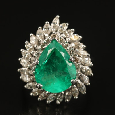 14K 5.02 CT Colombian Emerald and 2.45 CTW Diamond Ring with GIA Report