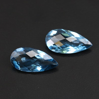 Loose 16.40 CTW Matched Pair of London Blue Topaz