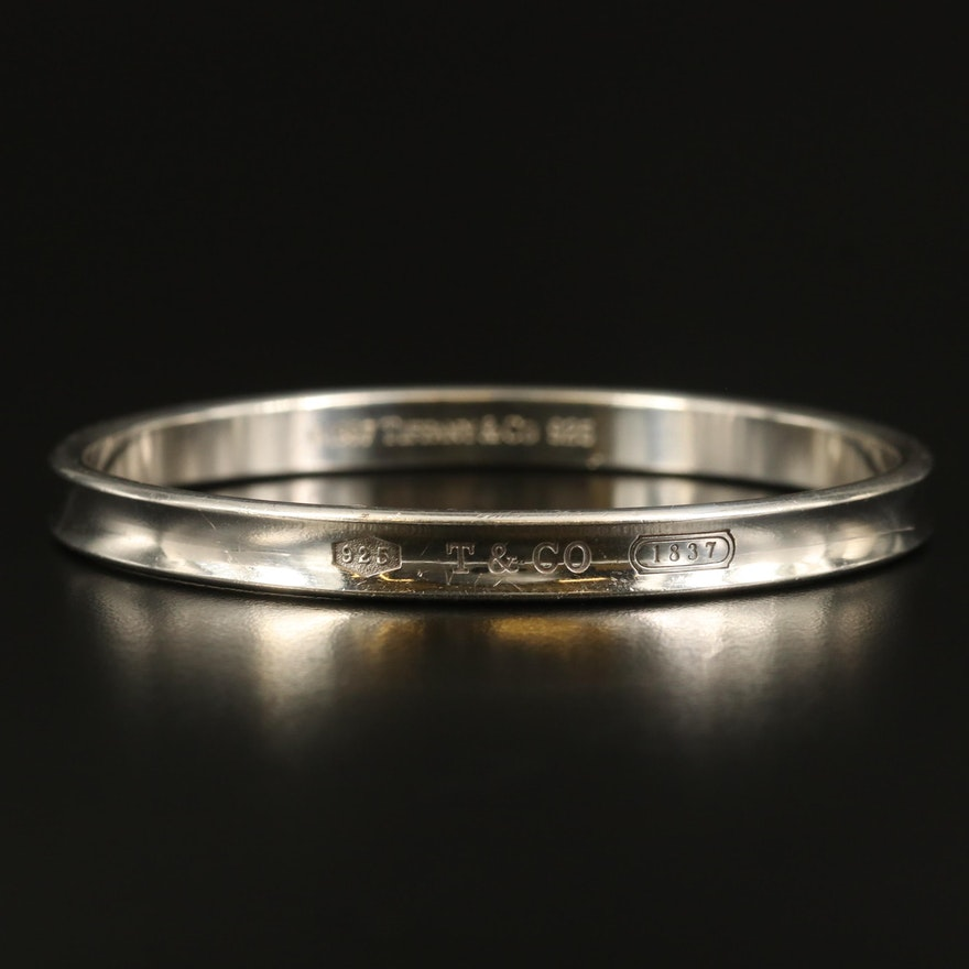 """Tiffany & Co. """"1837"""" Sterling Concave Bangle"""