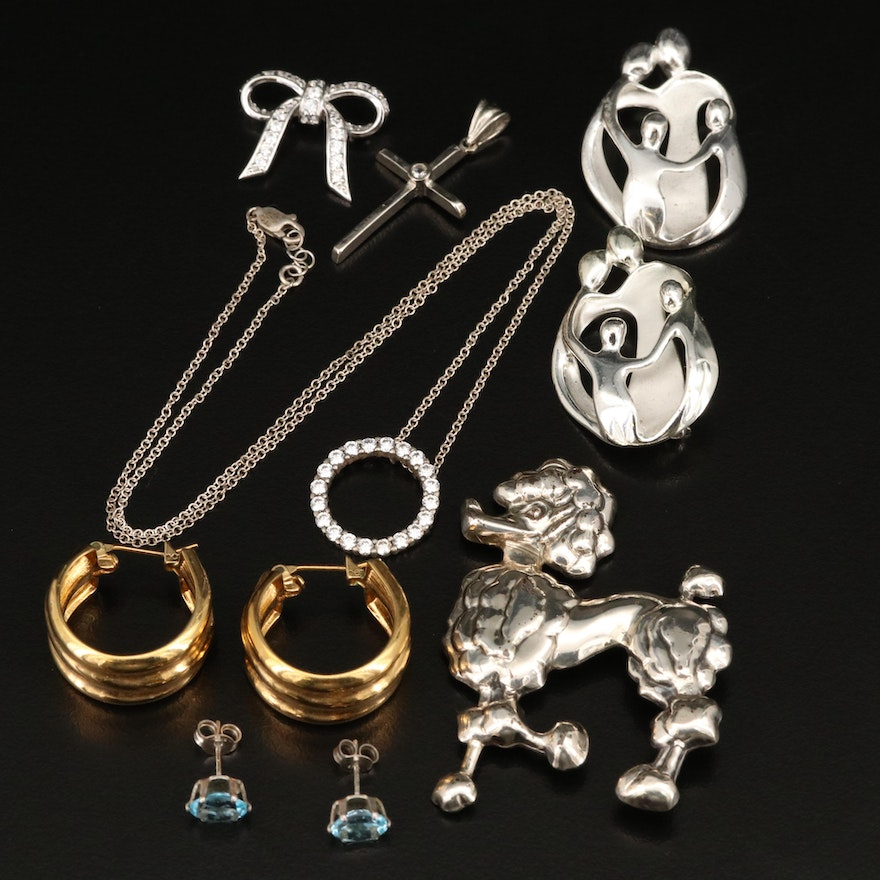 Sterling Jewelry Selection Featuring Carolyn Pollack Brooch and Silpada Pendant