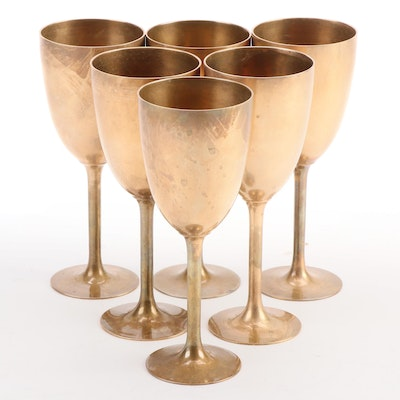Brass Wine Goblets, Mid to Late 20th Century