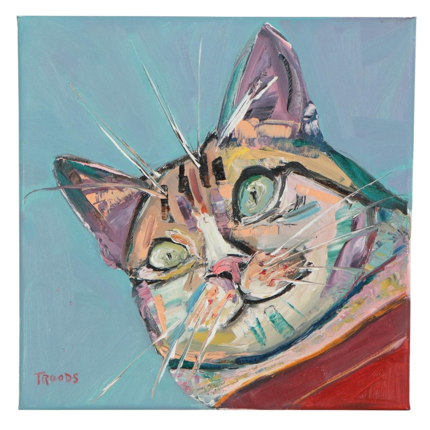 """Patricia Nolan-Brown Oil Painting """"Wide Eyed Kitty,"""" 2021"""
