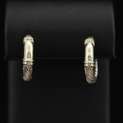 "David Yurman ""Metro"" Cable Sterling Earrings with 14K Accents"