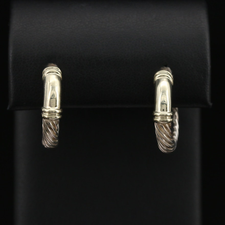 """David Yurman """"Metro"""" Cable Sterling Earrings with 14K Accents"""