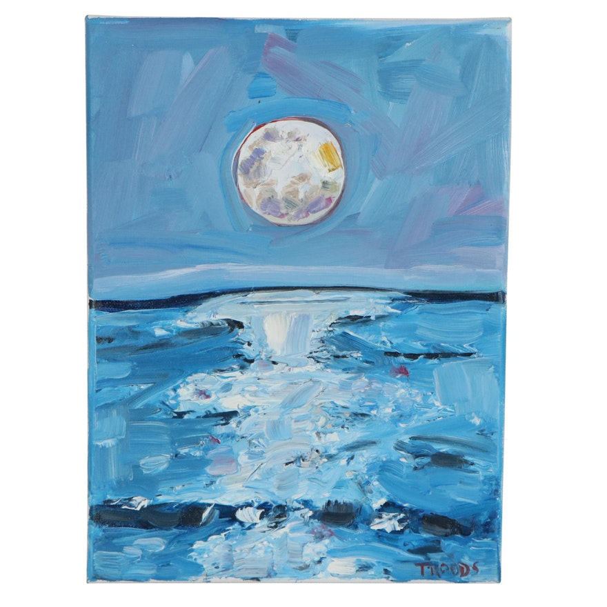 "Patricia Nolan-Brown Oil Painting ""Moonlit Ocean,"" 2021"